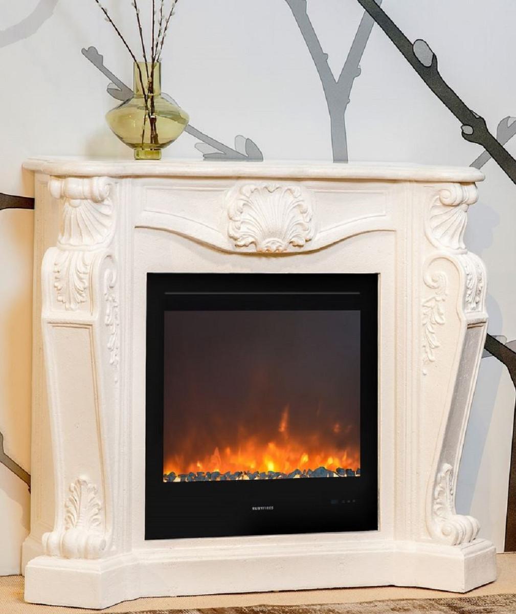 casa padrino cheminee art nouveau de luxe avec insert de cheminee a led blanc creme 118 x 43 x h 111 cm cheminee electrique de luxe