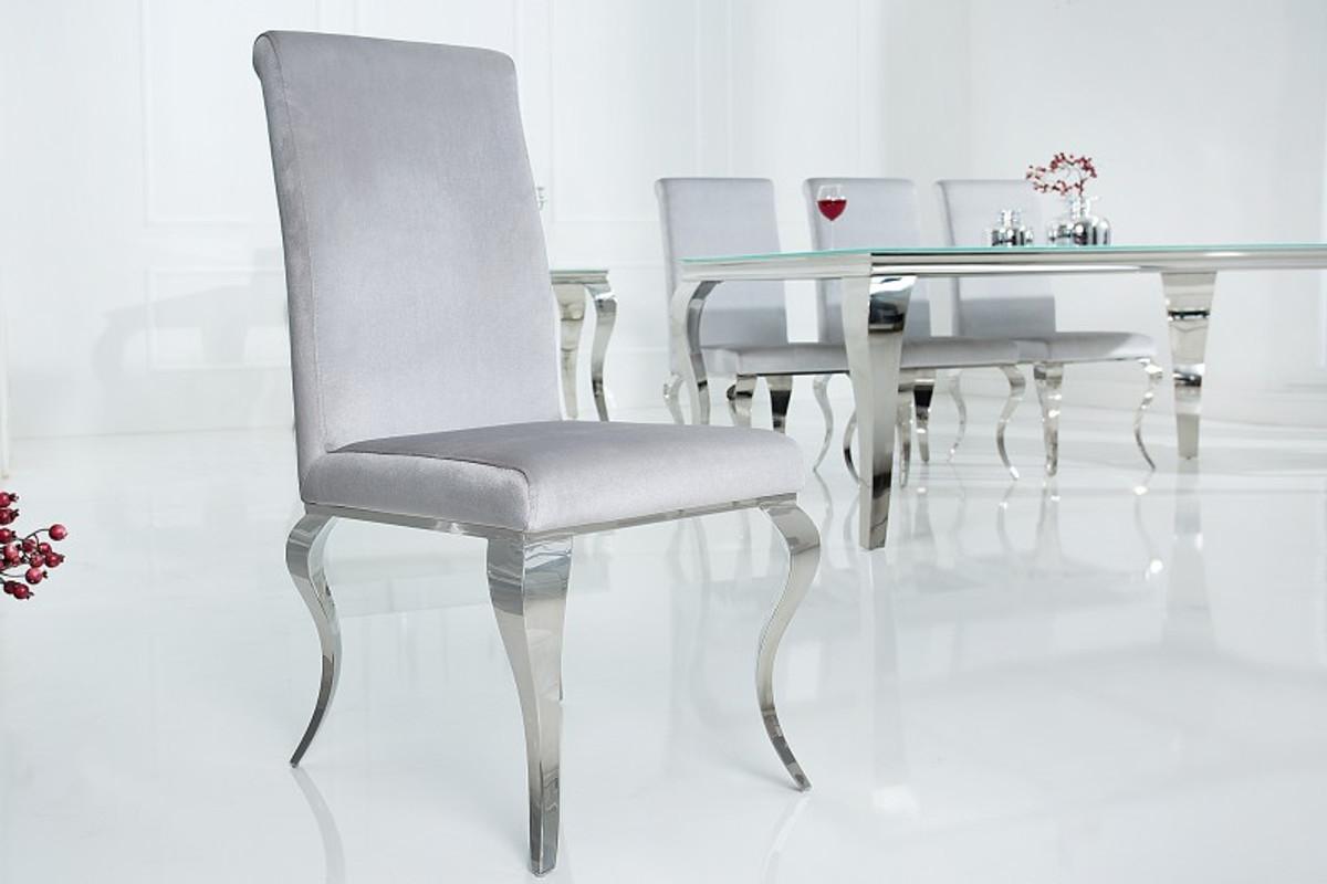 casa padrino chaise de salle a manger argent gris argent chaise de designer qualite luxueuse baroque moderne