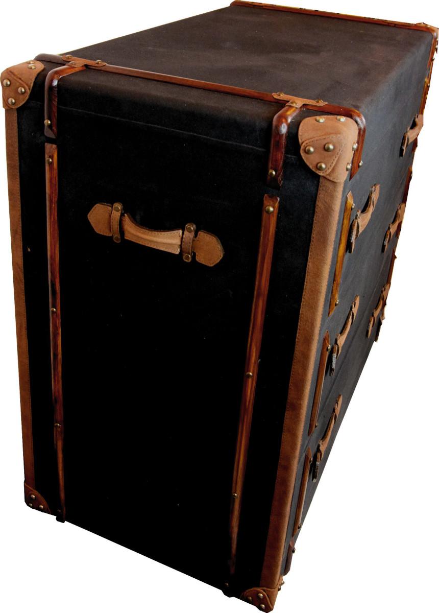 Casa Padrino Vintage Koffer Kommode Anthrazit Canvas mit