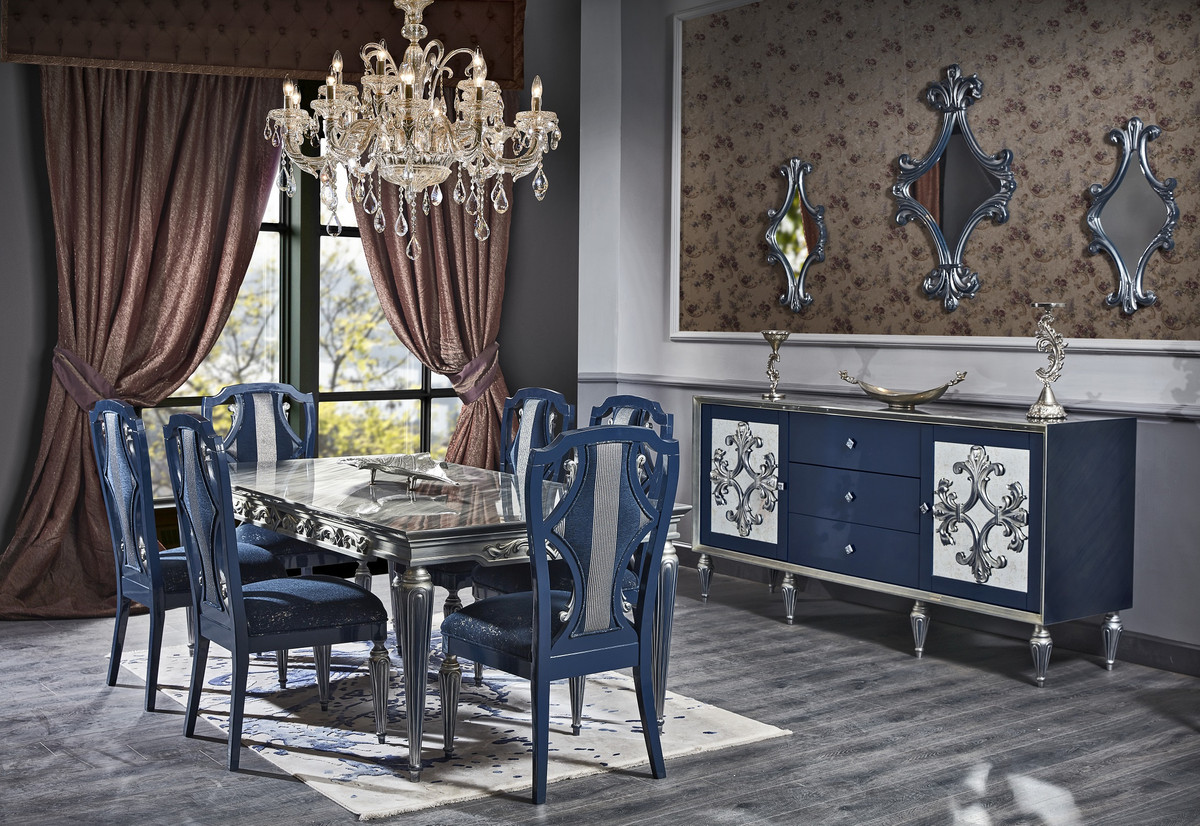 Casa Padrino Luxury Baroque Dining Room Set Blue Silver Dining Table And 6 Dining Chairs Baroque Dining Room Furniture Dining Room Sets