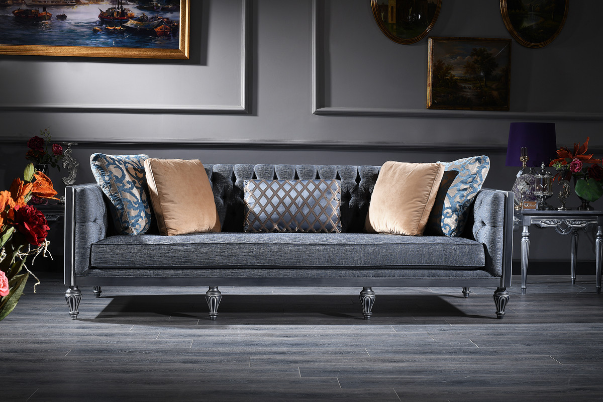 Casa Padrino Luxury Baroque Living Room Set Blue Beige Silver 2 Sofas 2 Armchairs Coffee Table Baroque Living Room Furniture
