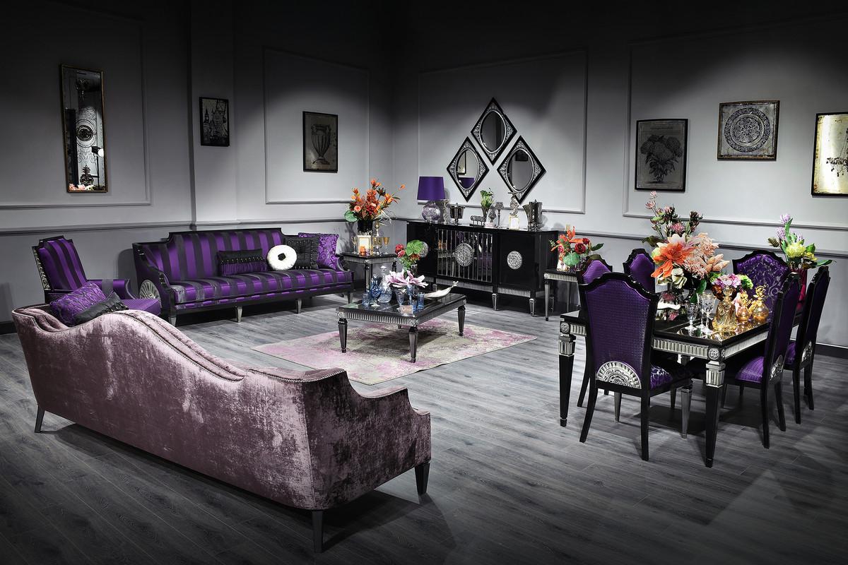 Casa Padrino Luxus Barock Wohnzimmer  Esszimmer Set Lila  Schwarz  Silber  Barockmbel Sofa