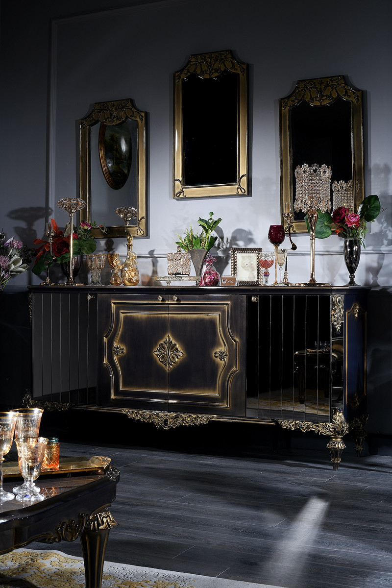 casa padrino ensemble de salle de sejour baroque de luxe bleu or noir buffet et 3 miroirs meubles baroques