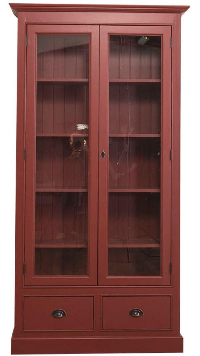 casa padrino vitrine de salon de style country rouge bordeaux 109 x 39 x h 210 cm meuble salon avec 2 portes vitrees et 2 tiroirs