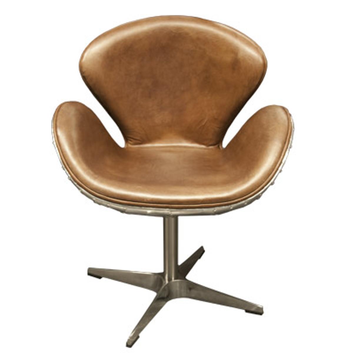 fauteuil de bureau art deco de luxe fauteuil pivotant en cuir veritable marron clair aluminium fauteuil pivotant fauteuil de direction