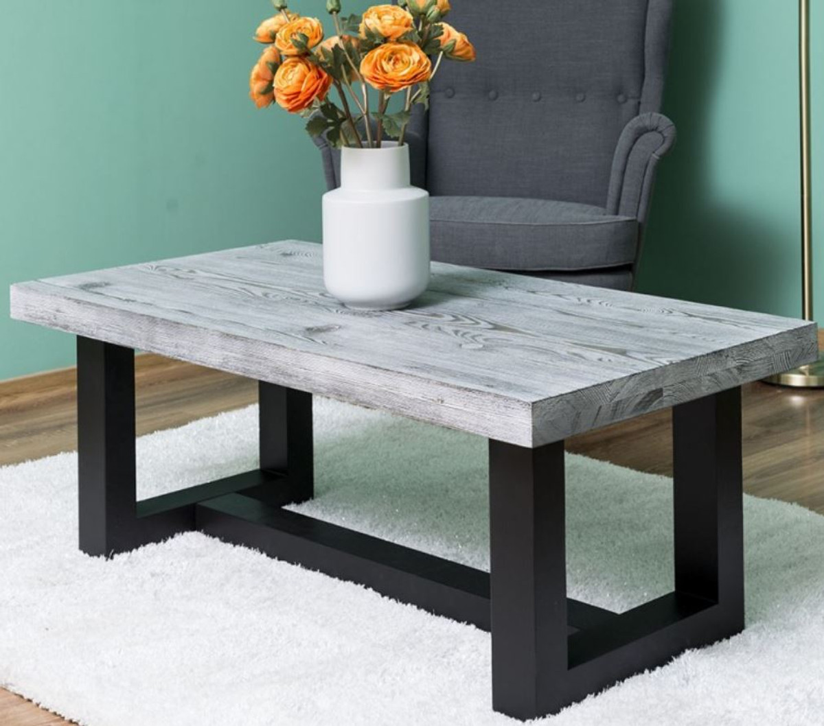 casa padrino country style coffee table gray black 120 x 60 x h 45 cm solid wood living room table living room furniture in country style