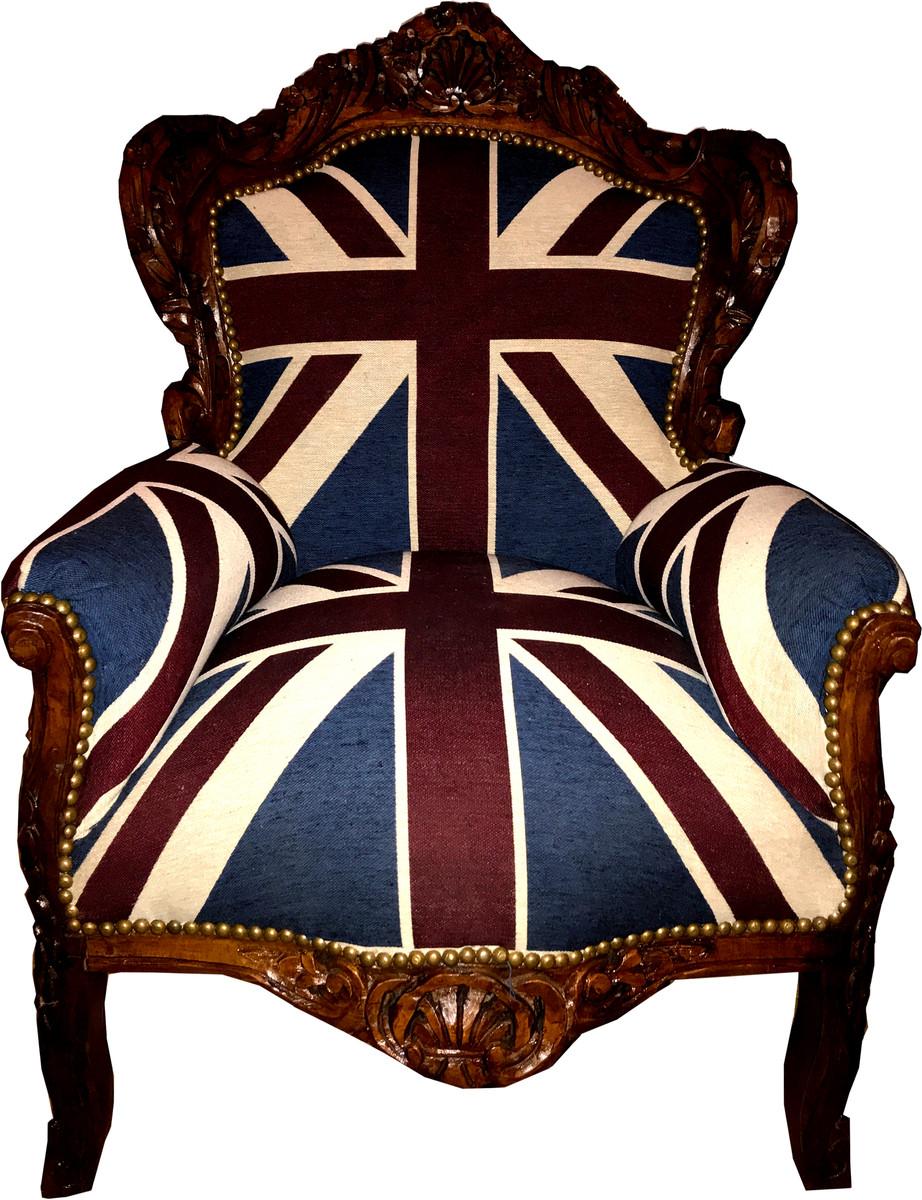 fauteuil baroque casa padrino king union jack marron meuble style ancien drapeau anglais