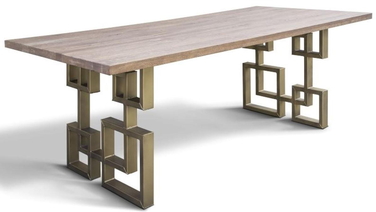 casa padrino table a manger design en bois massif avec plateau en chene rustique et pieds en acier differentes couleurs et tailles table de