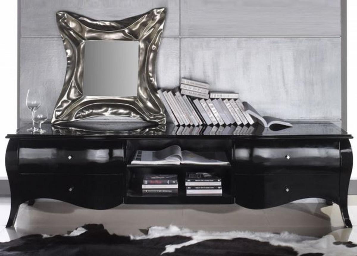 casa padrino luxury neo baroque tv commode tv noir brillant 220 x 53 x 53 cm meuble tv neo baroque