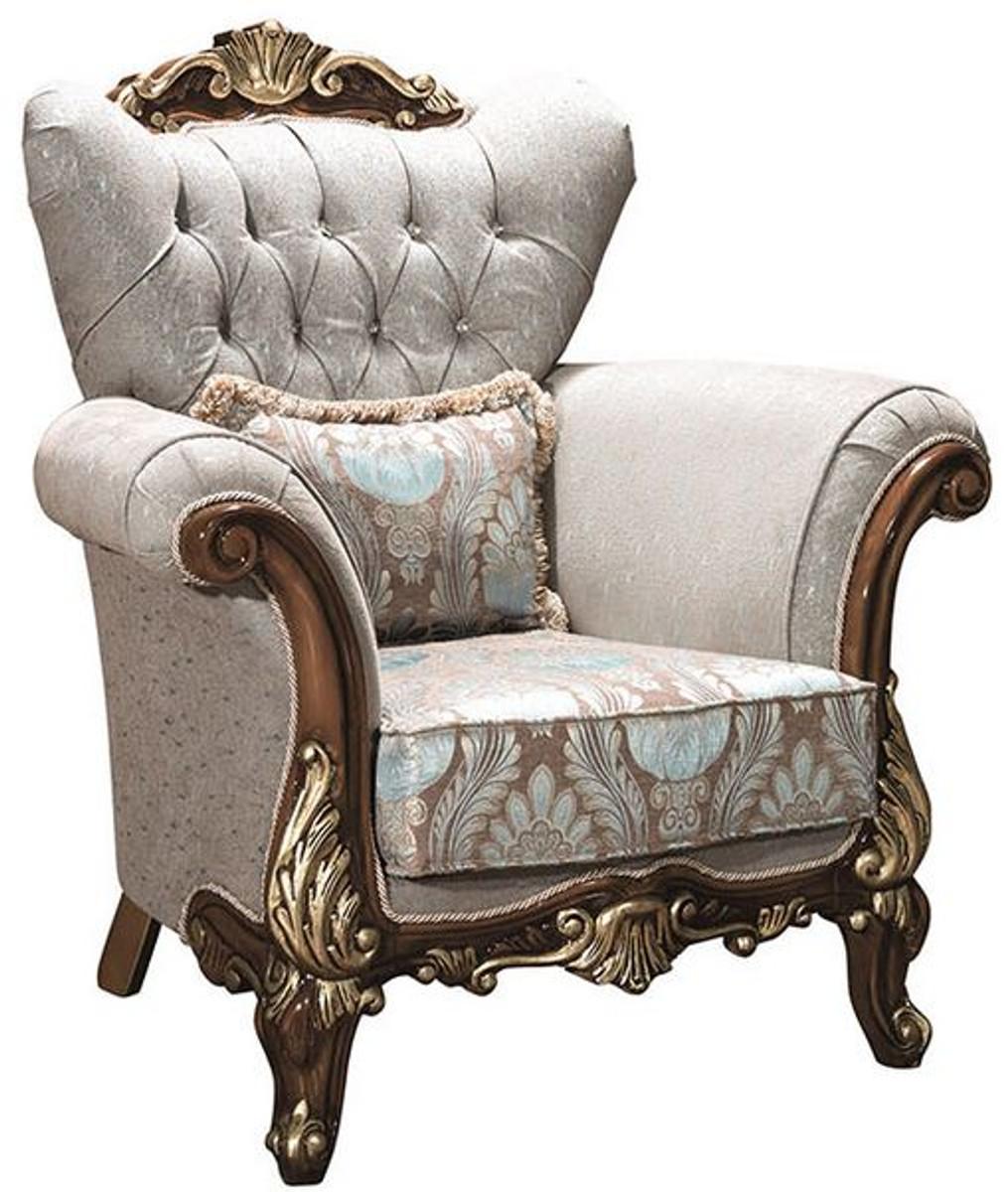 casa padrino fauteuil de salon baroque de luxe avec strass et oreiller decoratif gris argent marron or 112 x 83 x h 115 cm meubles baroques