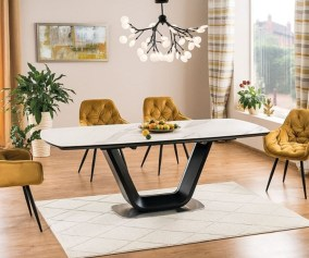 Casa Padrino Luxury Dining Table White Black Silver 160 220 X 90 X H 76 Cm Extendable Kitchen Table With Table Top In Marble Look Luxury Dining Room Furniture