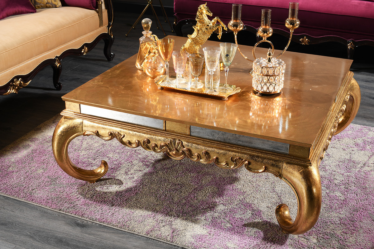 casa padrino luxury baroque coffee table gold 128 x 128 x h 48 cm noble solid wood living room table with glass top and mirror glass luxury