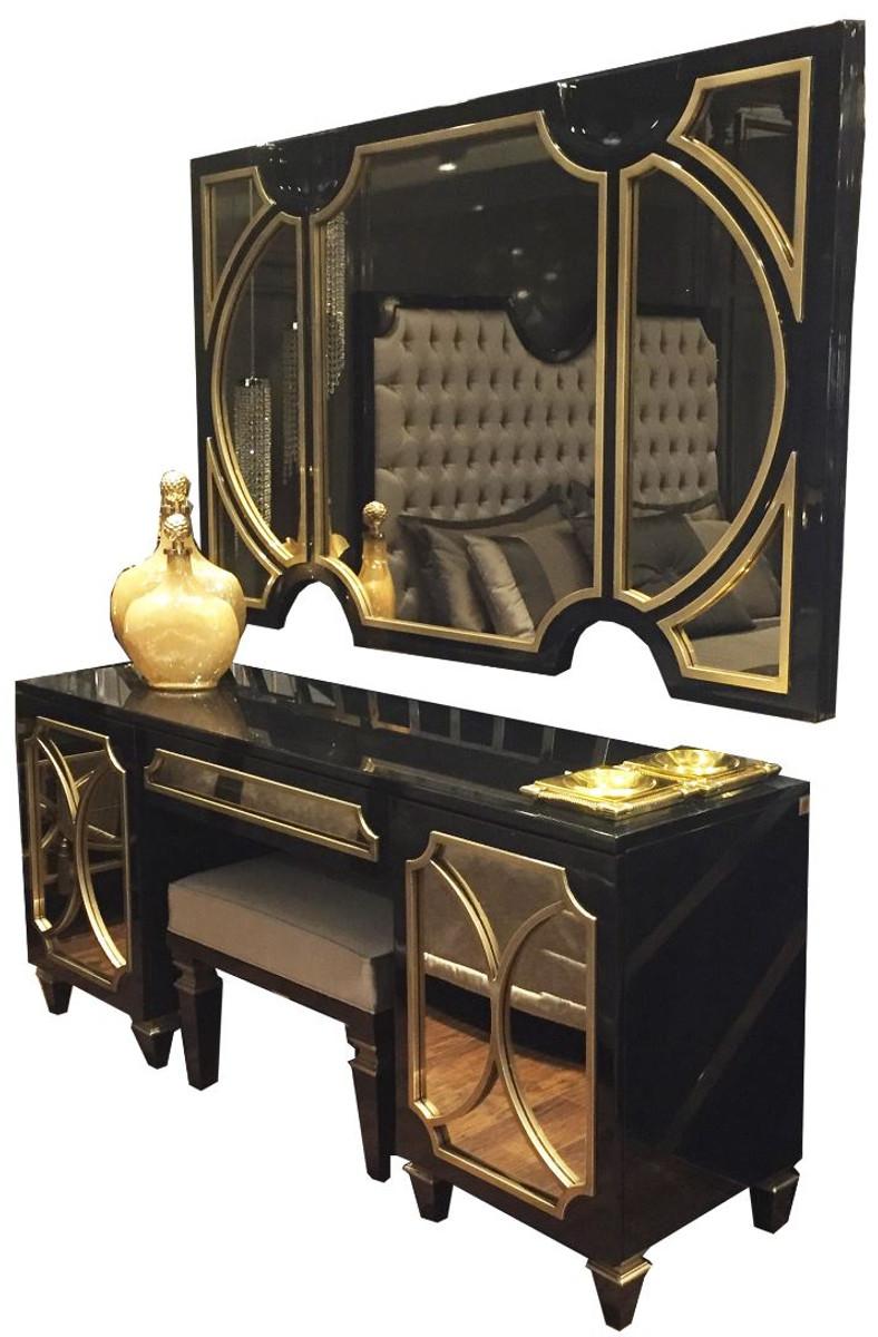 casa padrino ensemble de chambre baroque de luxe noir or 1 miroir mural et 1 commode et 1 tabouret meubles de chambre noble et magnifique