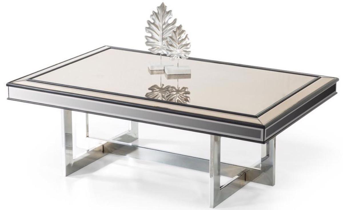 Casa Padrino Table Basse De Luxe Argent 120 X 80 X H 43 Cm Table De Salon Avec Plaque De Verre Et Verre Miroir Meubles De Salon De Luxe