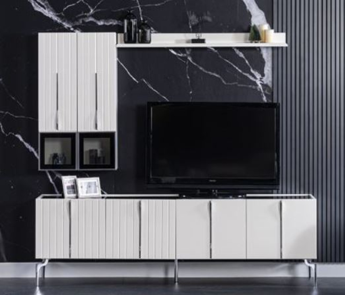 casa padrino luxury art deco tv cabinet white black silver 208 x 44 x h 64 cm noble living room tv cabinet with 4 doors art deco furniture