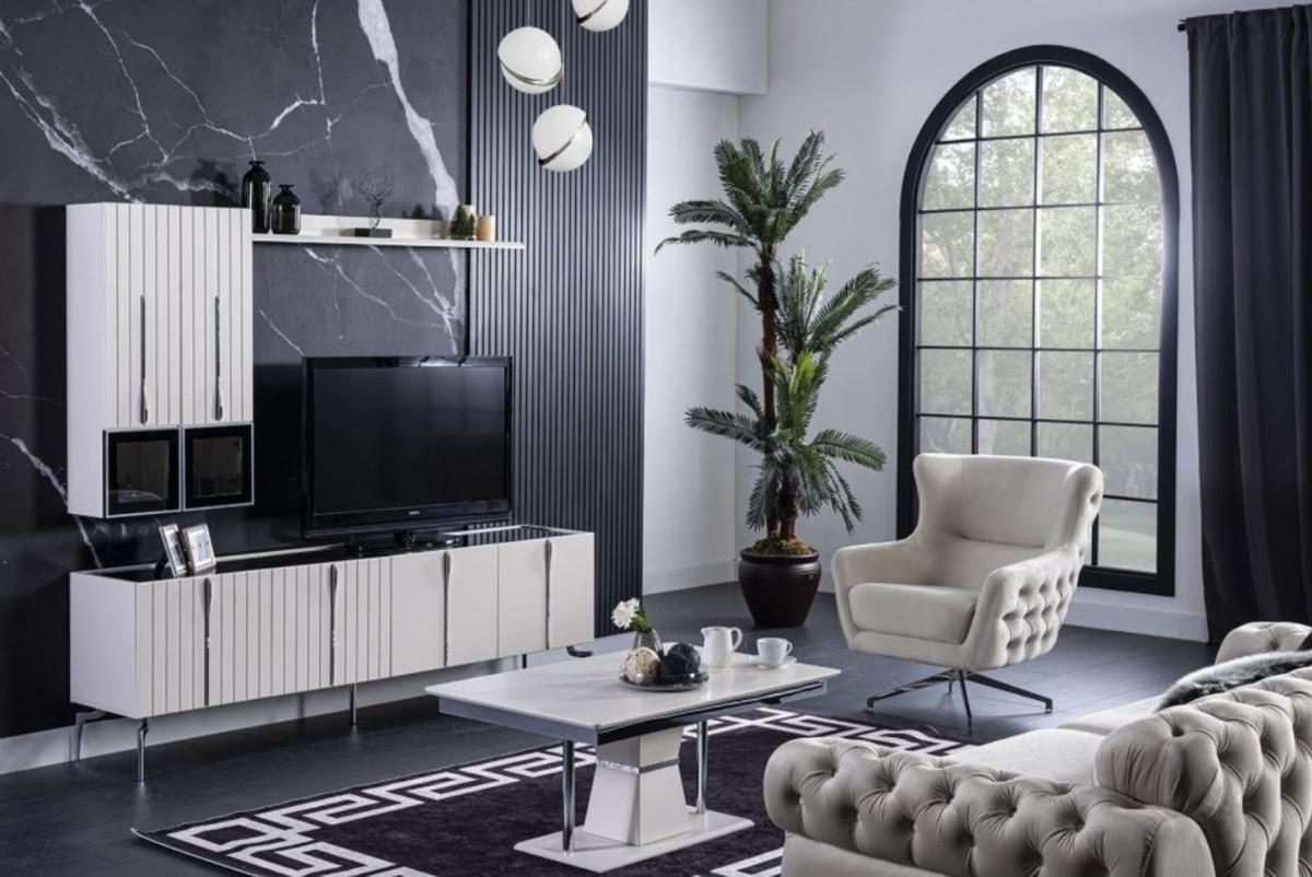 casa padrino armoire tv art deco de luxe blanc noir argent 208 x 44 x h 64 cm meuble tv de salon noble avec 4 portes mobilier art deco