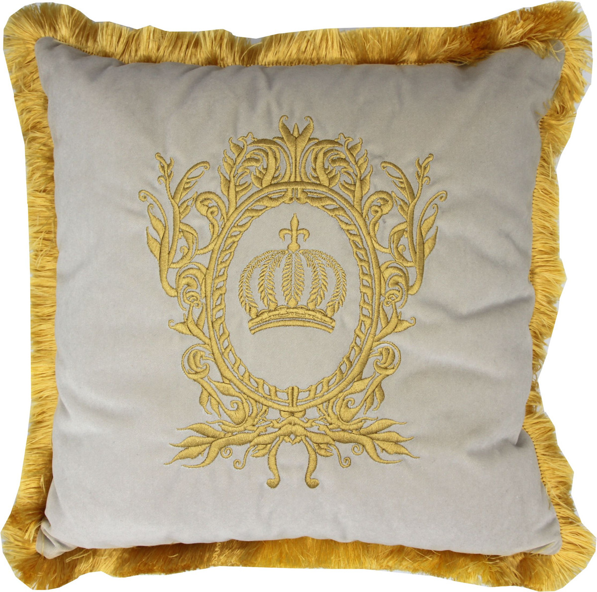 harald gloockler luxury decorative pillow pompoos by casa padrino cream gold gloockler pillow