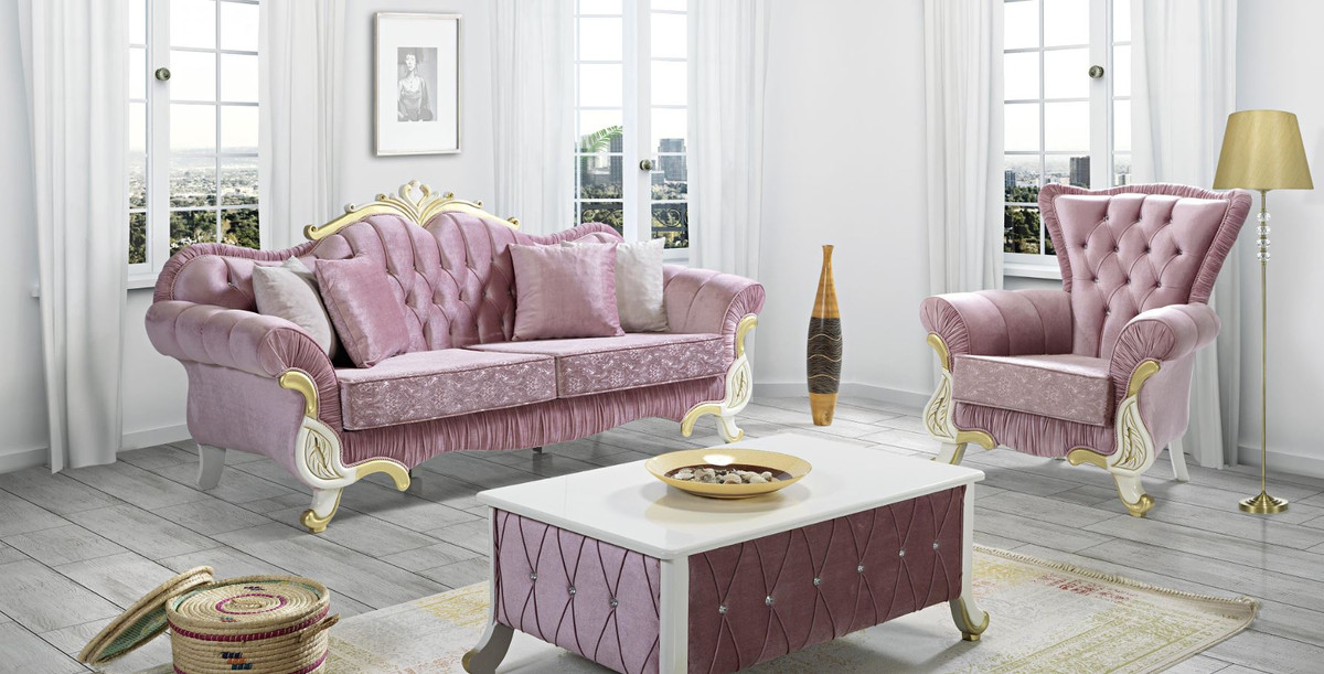 Casa Padrino Baroque Living Room Set Pink White Gold 2 Sofas 2 Armchairs 1 Coffee Table Living Room Furniture In Baroque Style Noble Baroque Furniture