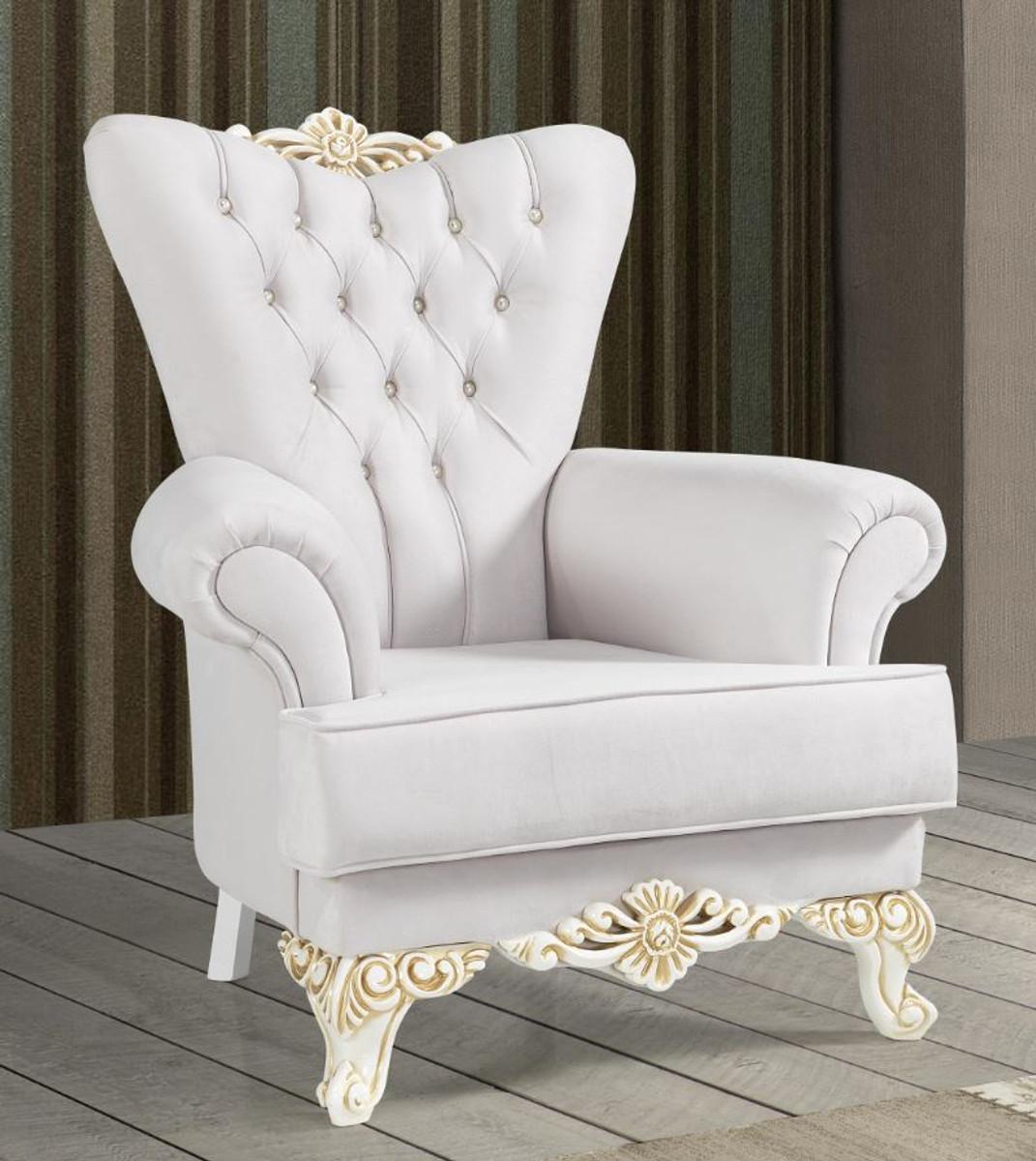 casa padrino fauteuil baroque gris clair blanc or 93 x 75 x h 107 cm fauteuil de salon noble avec strass mobilier baroque