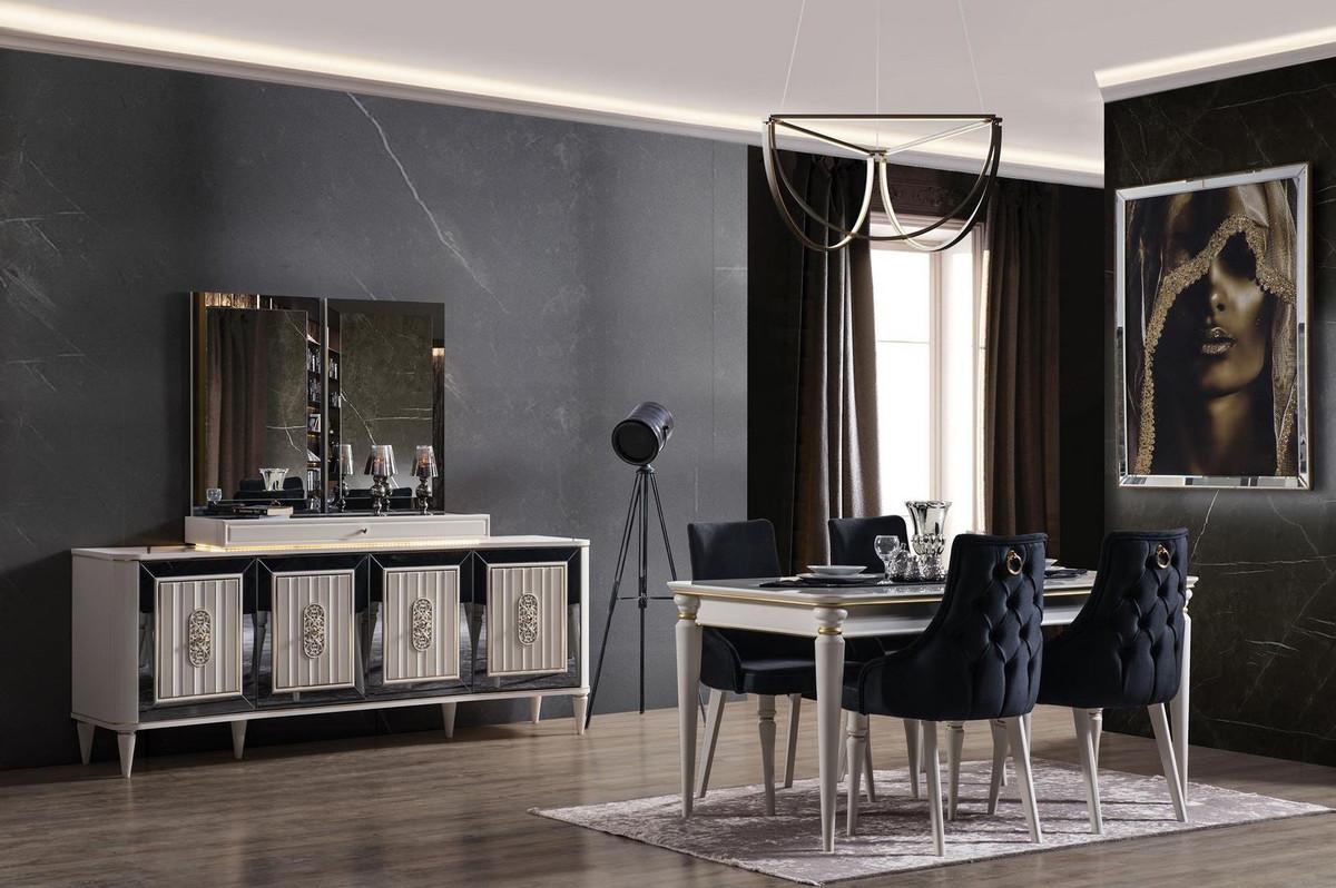 casa padrino ensemble de salle a manger art deco de luxe bleu fonce blanc or 1 table a manger extensible et 6 chaises de salle a manger