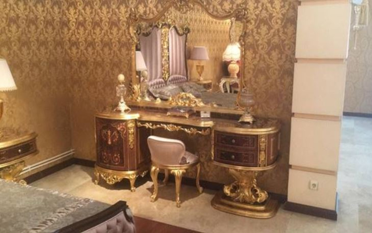 casa padrino luxury baroque bedroom set brown pink antique gold 1 dressing table 1 mirror 1 stool magnificent bedroom furniture in baroque