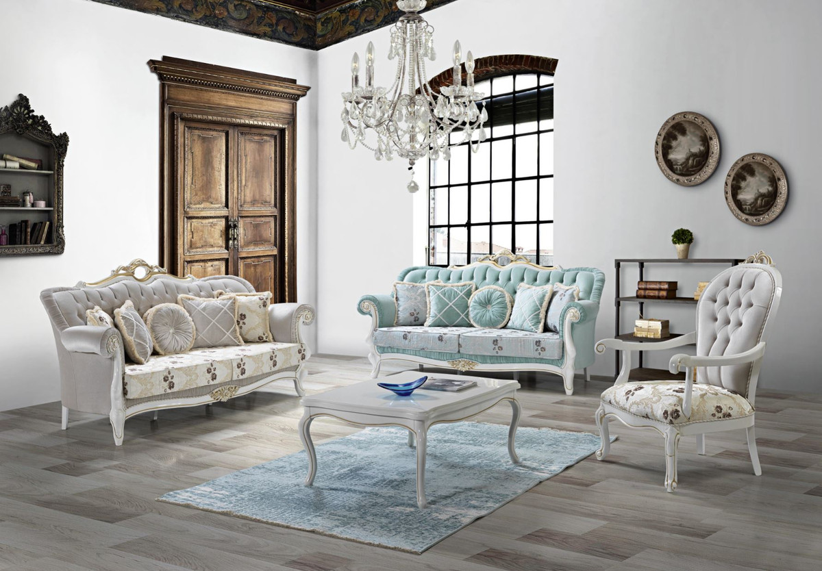 Casa Padrino Baroque Living Room Set Light Green Light Gray White Gold 2 Sofas 2 Armchairs 1 Coffee Table Living Room Furniture In Baroque Style
