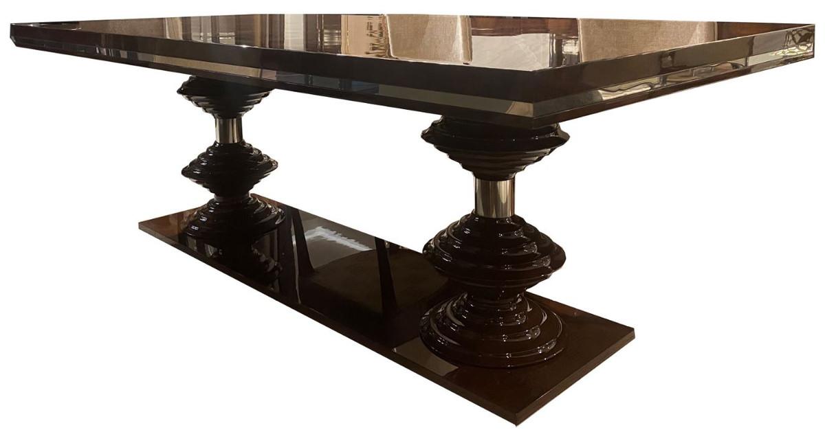 casa padrino luxury art deco dining table dark brown brass 220 x 110 x h 78 cm noble dining room table kitchen table art deco dining room