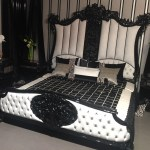 Casa Padrino Luxury Baroque Double Bed Black White Noble Solid Wood Bed With Headboard Magnificent Bedroom Furniture In Baroque Style