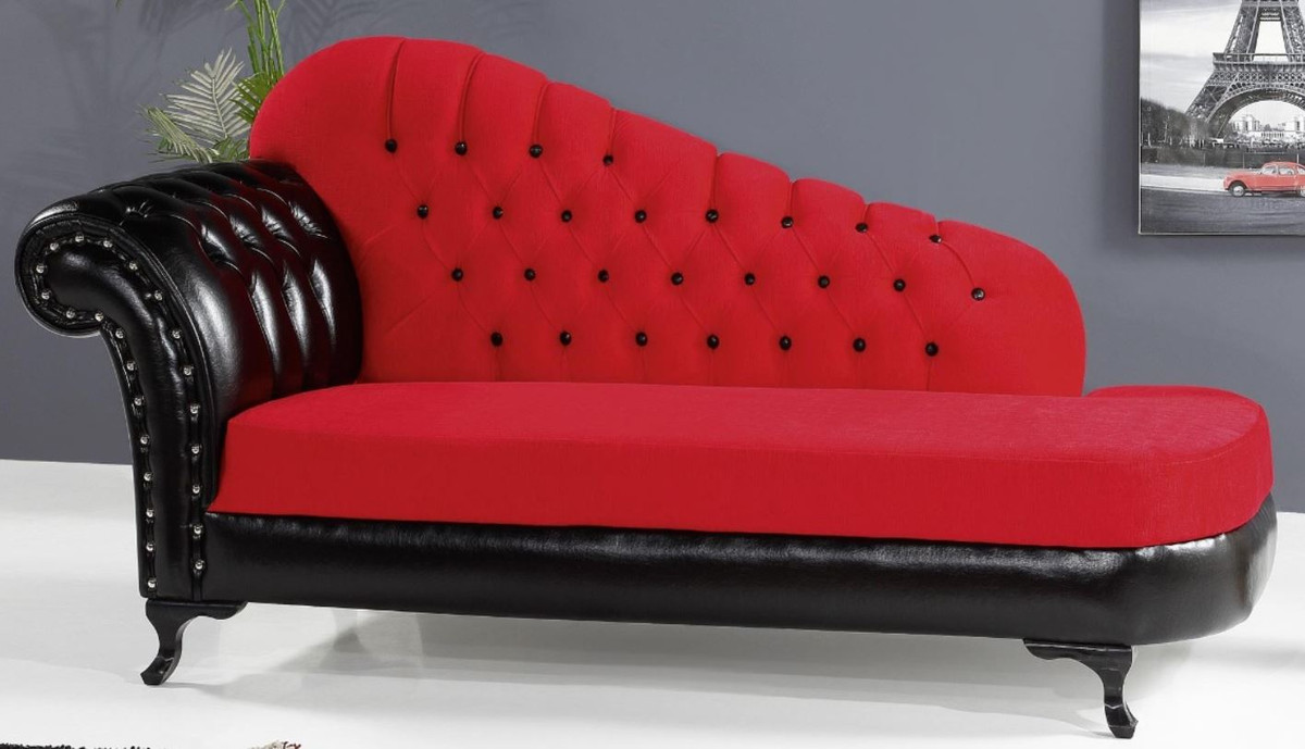 Casa Padrino Baroque Chaise Longue Red Black 183 X 80 X H 94 Cm Noble Solid Wood Chaise Longue With Faux Leather Baroque Furniture