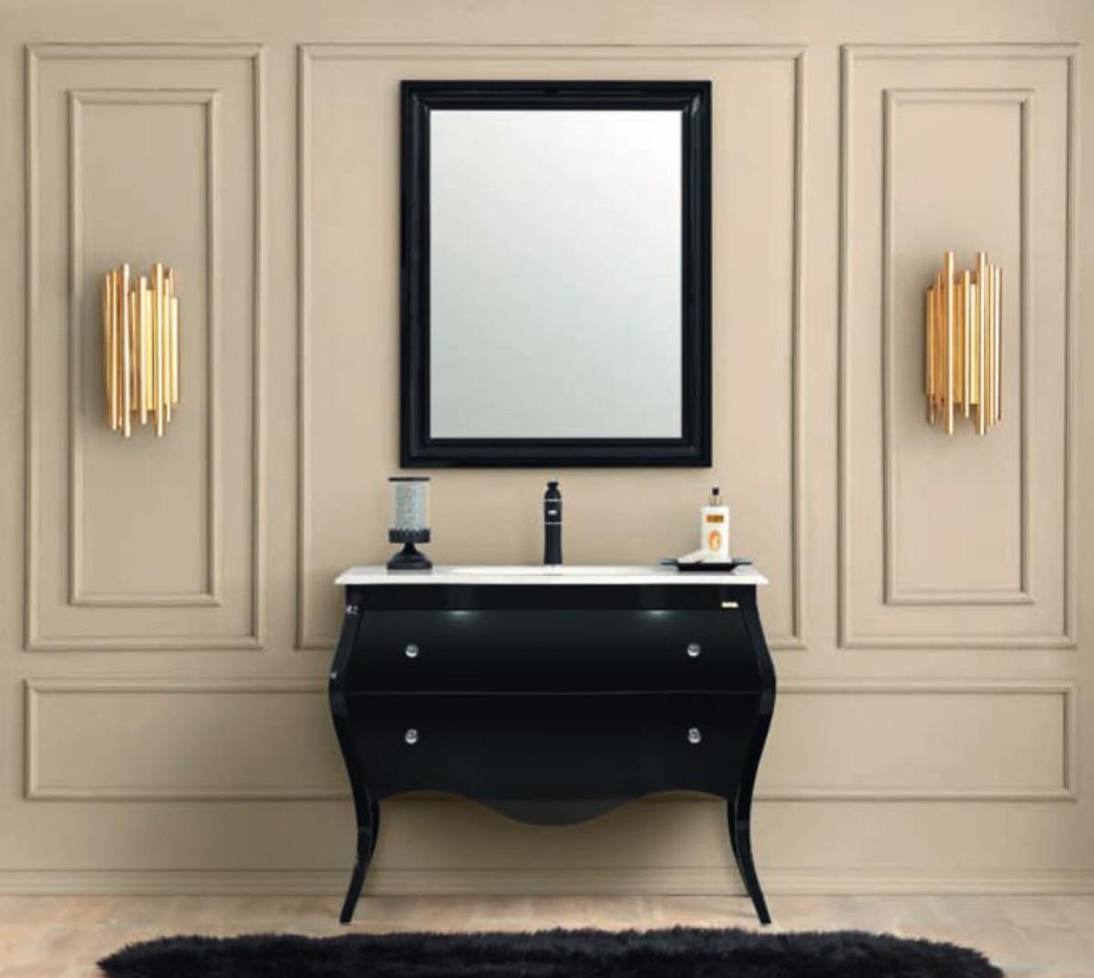 casa padrino ensemble de salle de bains baroque de luxe noir blanc 1 table de lavage 1 lavabo 1 miroir mural meubles de salle de bain de