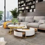 Casa Padrino Luxus Couchtisch Set Weiss Gold 2 Runde Wohnzimmertische Wohnzimmer Mobel Luxus Qualitat