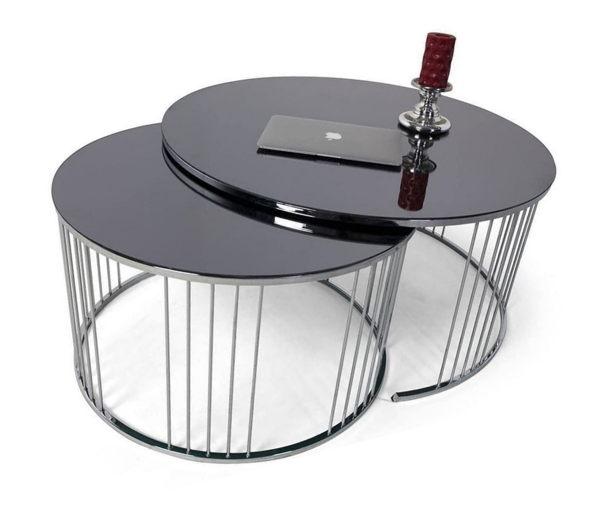 casa padrino luxury coffee table set silver black 2 round living room tables with glass top living room furniture luxury collection