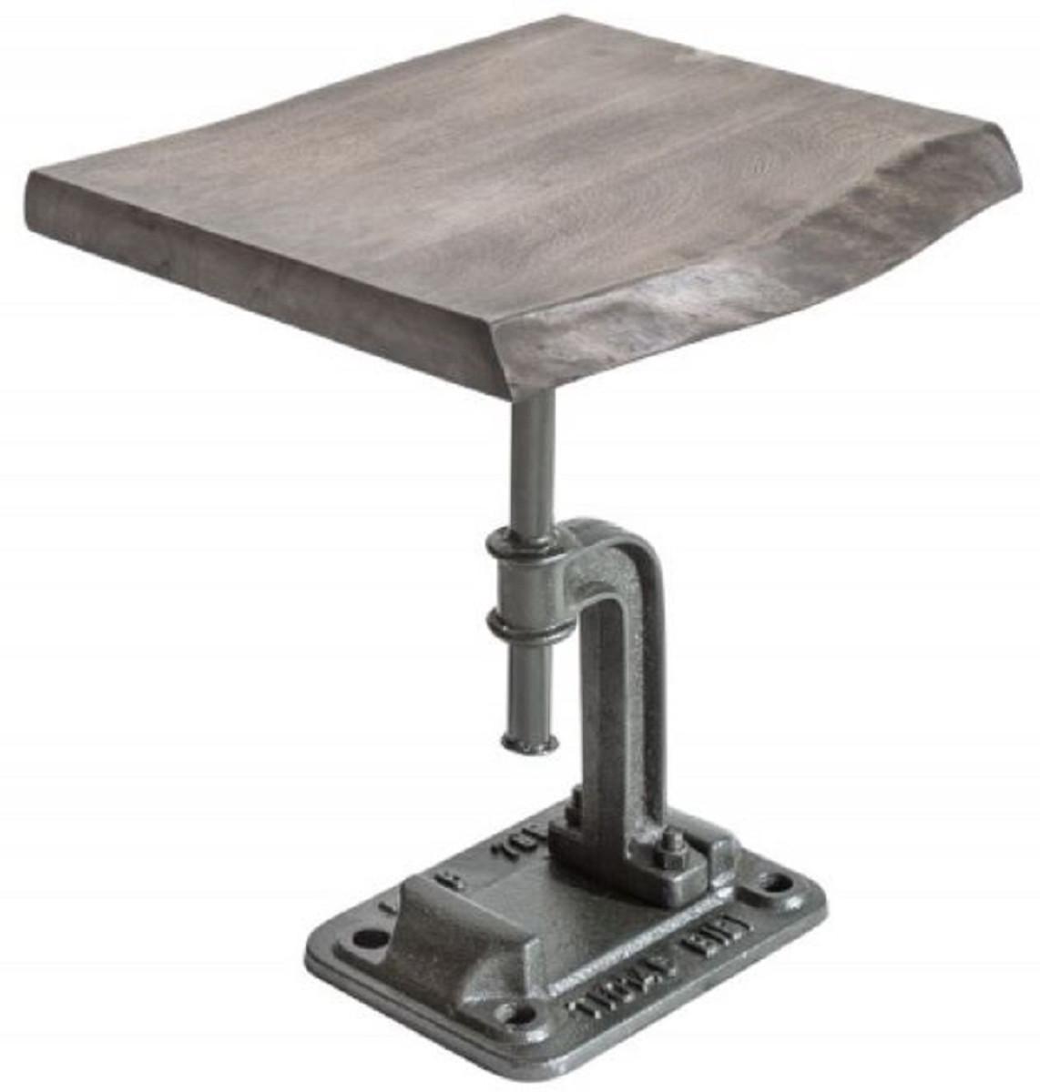 casa padrino table d appoint design industriel gris 43 x 35 x h 46 cm table metal style industriel avec plateau en bois massif mobilier design