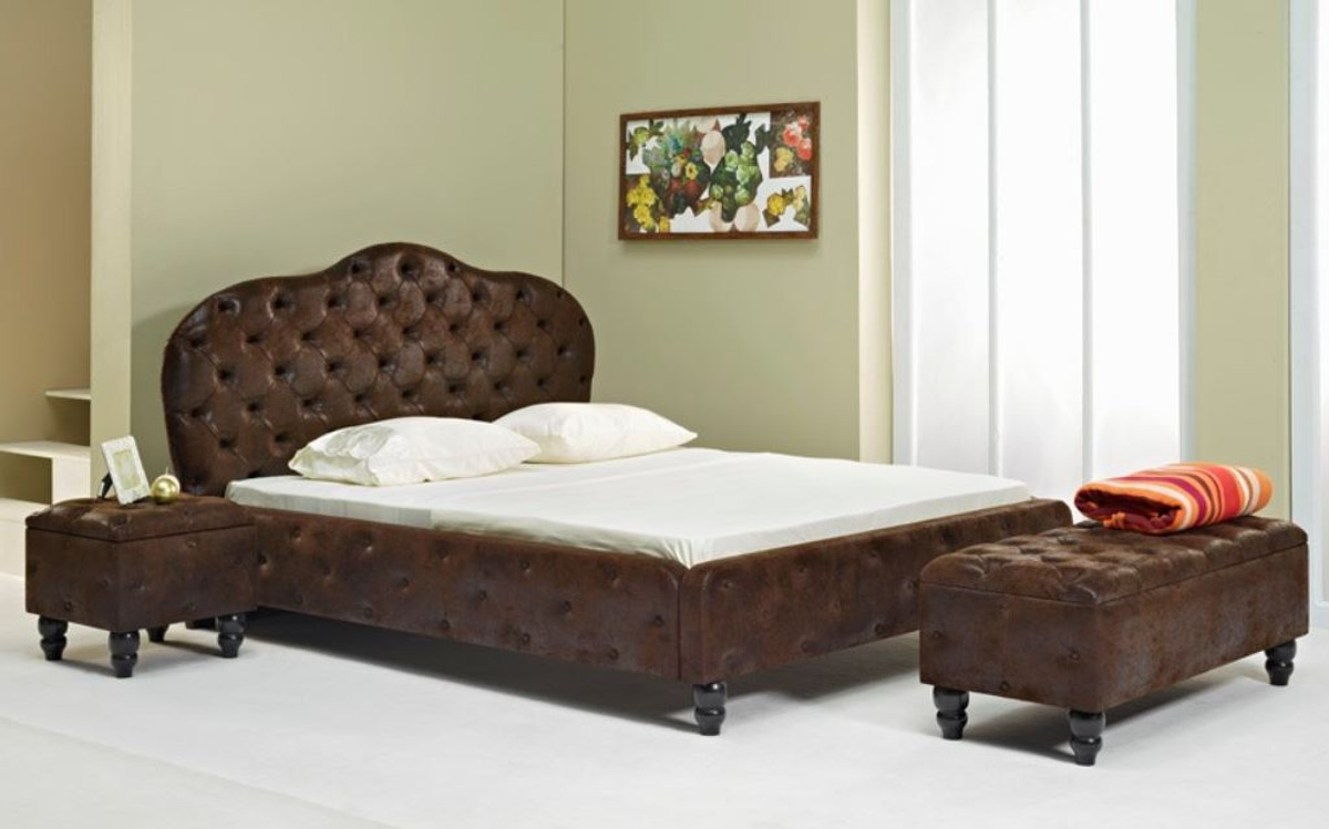 Casa Padrino Chesterfield Double Bed Dark Brown Black Various Sizes Elegant Solid Wood Bed With Headboard Chesterfield Bedroom Furniture