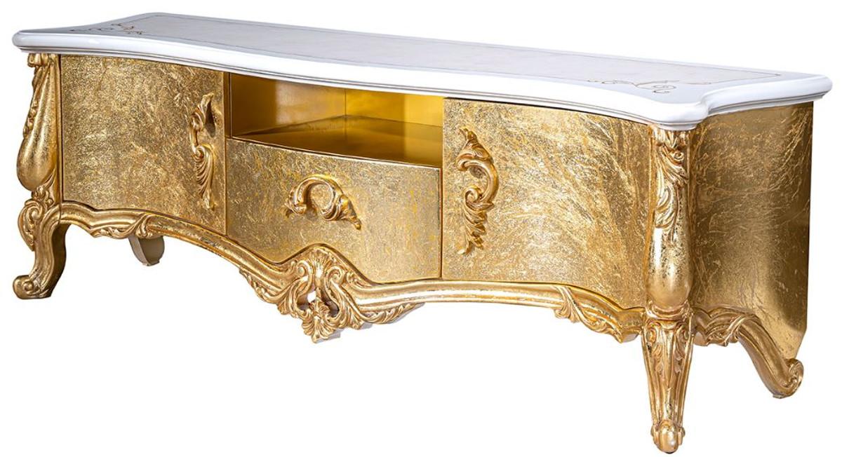 casa padrino armoire tv baroque de luxe blanc or 176 x 48 x h 61 cm magnifique meuble tv 2 portes et tiroir mobilier de salon baroque