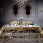 Casa Padrino Luxus Barock Esstisch Weiss Gold 202 X 102 X H 80 Cm Massivholz Kuchentisch Esszimmertisch Prunkvolle Esszimmer Mobel Im Barockstil