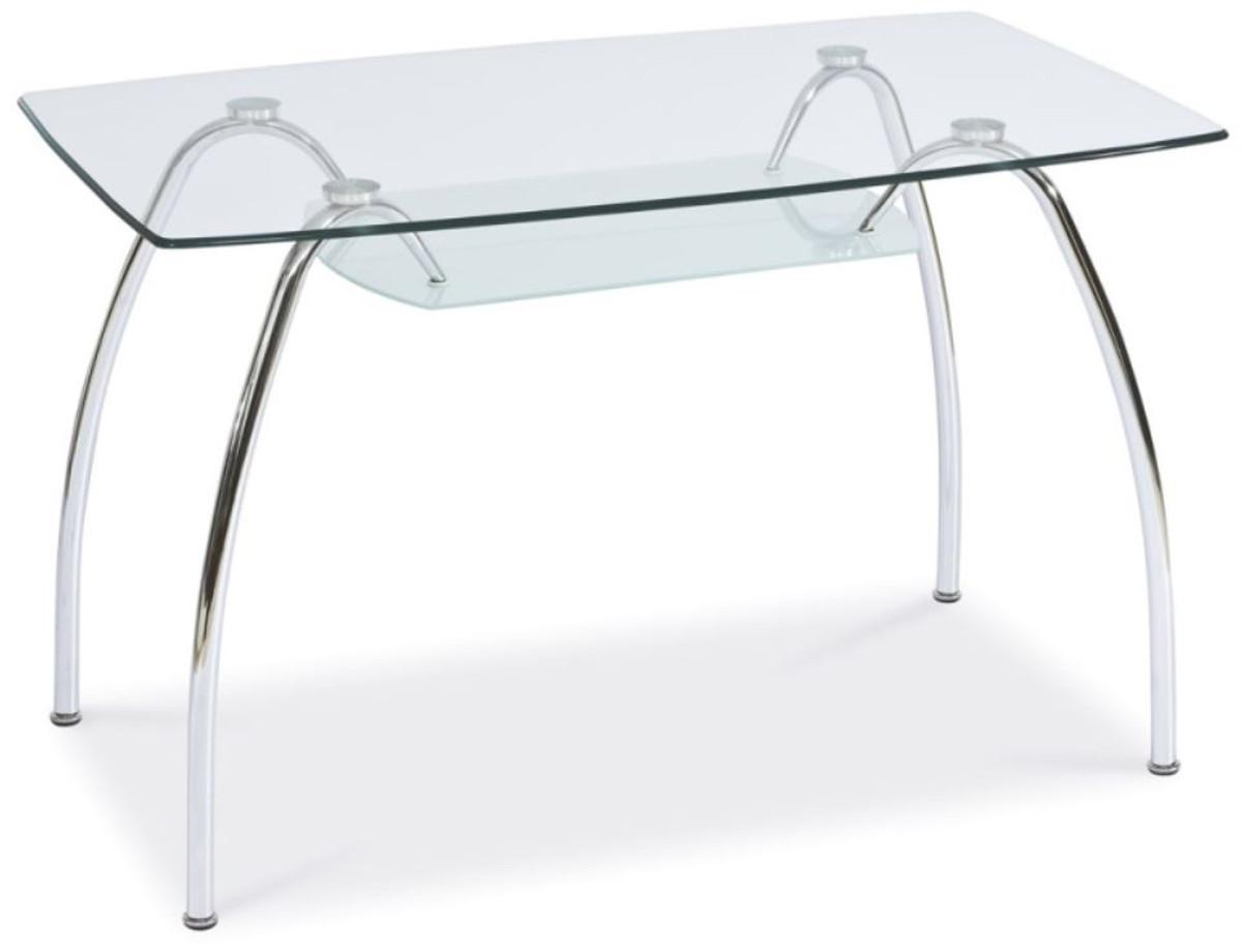 casa padrino table a manger design en verre argent 120 x 70 x h 74 cm table de cuisine moderne rectangulaire avec plateaux en verre mobilier de