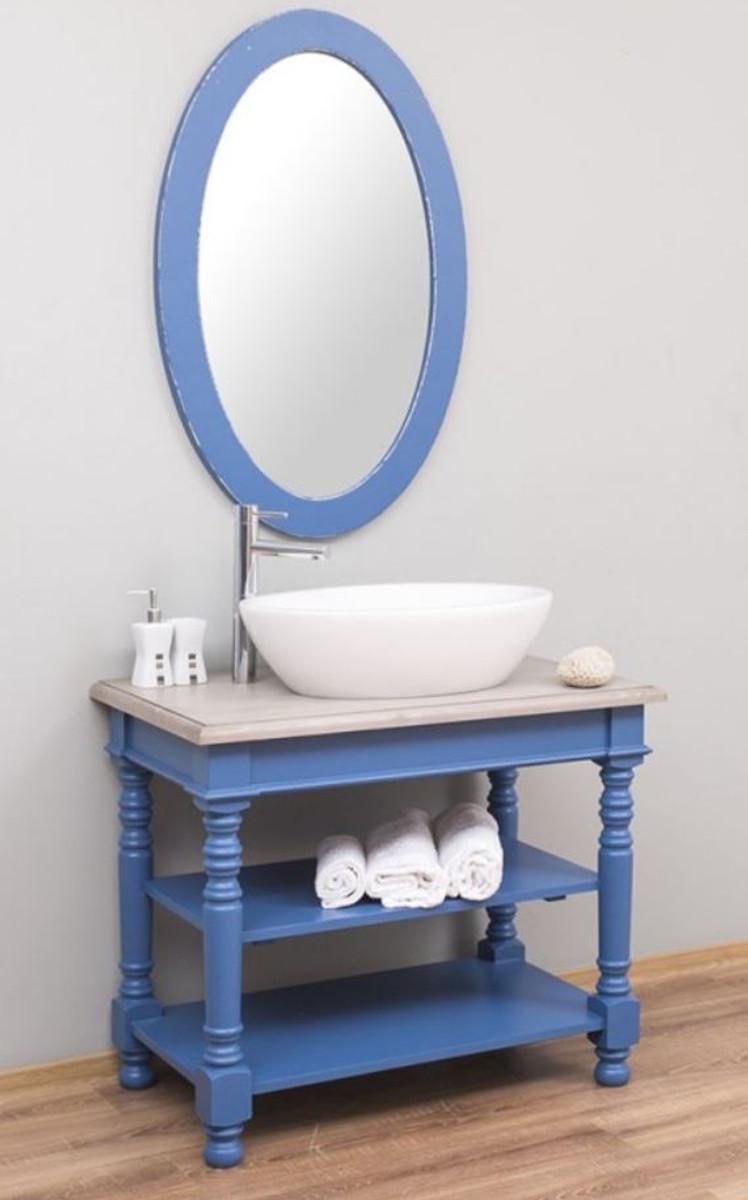 casa padrino ensemble de salle de bain de style champetre bleu gris clair 1 armoire lavabo et 1 miroir mural meubles de salle de bain en bois