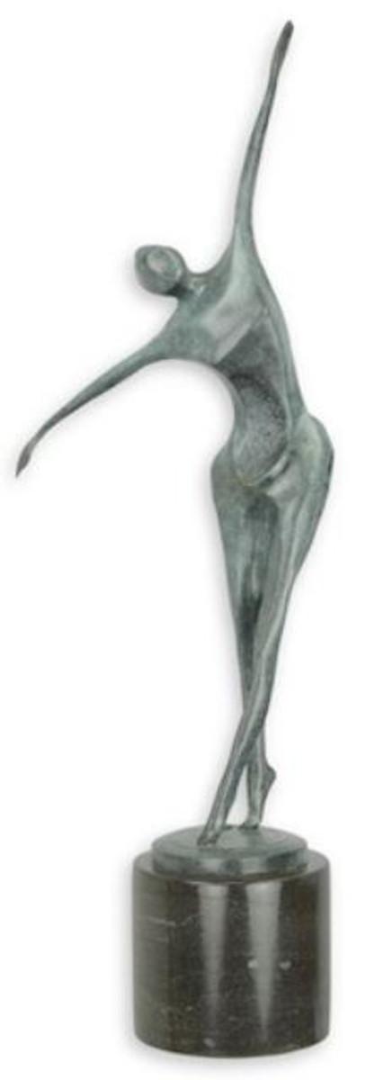 casa padrino designer bronze skulptur tanzer blau schwarz 18 6 x 13 x h 57 2 cm moderne bronzefigur mit marmorsockel deko accessoires