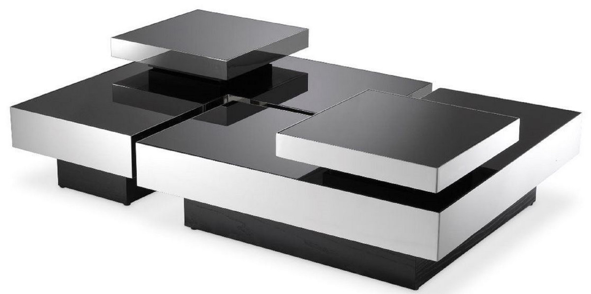 casa padrino luxury coffee table set silver black 2 l shaped living room tables with 2 square trays living room furniture luxury collection