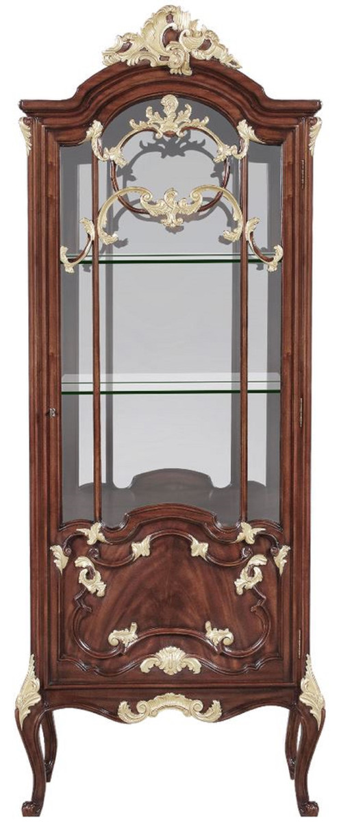casa padrino luxury baroque display cabinet brown gold 79 x 42 x h 207 cm magnificent solid wood showcase cabinet with led lighting baroque
