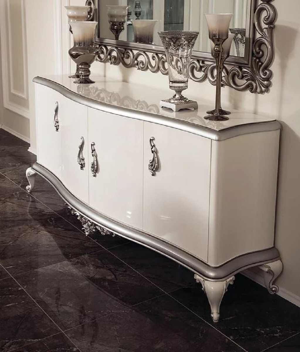 casa padrino buffet baroque de luxe blanc argent 207 x 54 x h 90 cm armoire en bois massif noble avec 4 portes meubles de style baroque