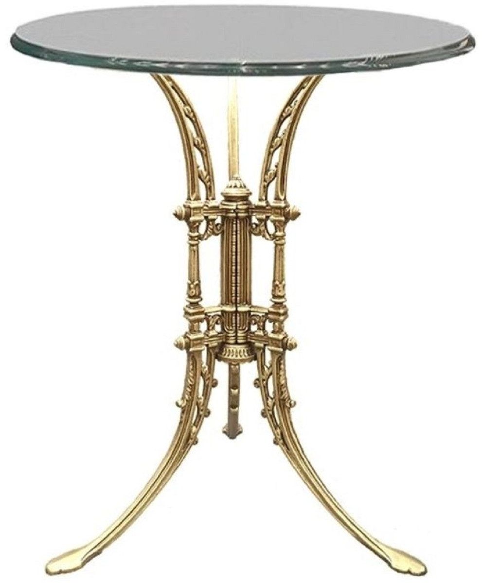 casa padrino luxury art nouveau side table gold o 70 x h 74 cm hand forged wrought iron table with glass top living room garden patio furniture