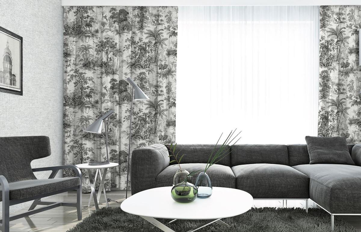 casa padrino luxury curtain set jungle white black 250 x h 290 cm printed linen velvet curtains eyelet curtains sliding curtains living