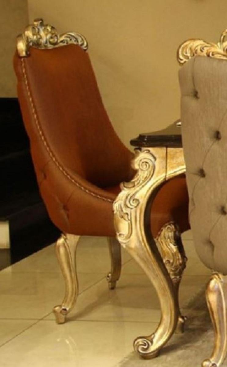 casa padrino chaise de salle a manger baroque de luxe marron or chaise de cuisine en bois massif fabriquee a la main avec cuir veritable fin