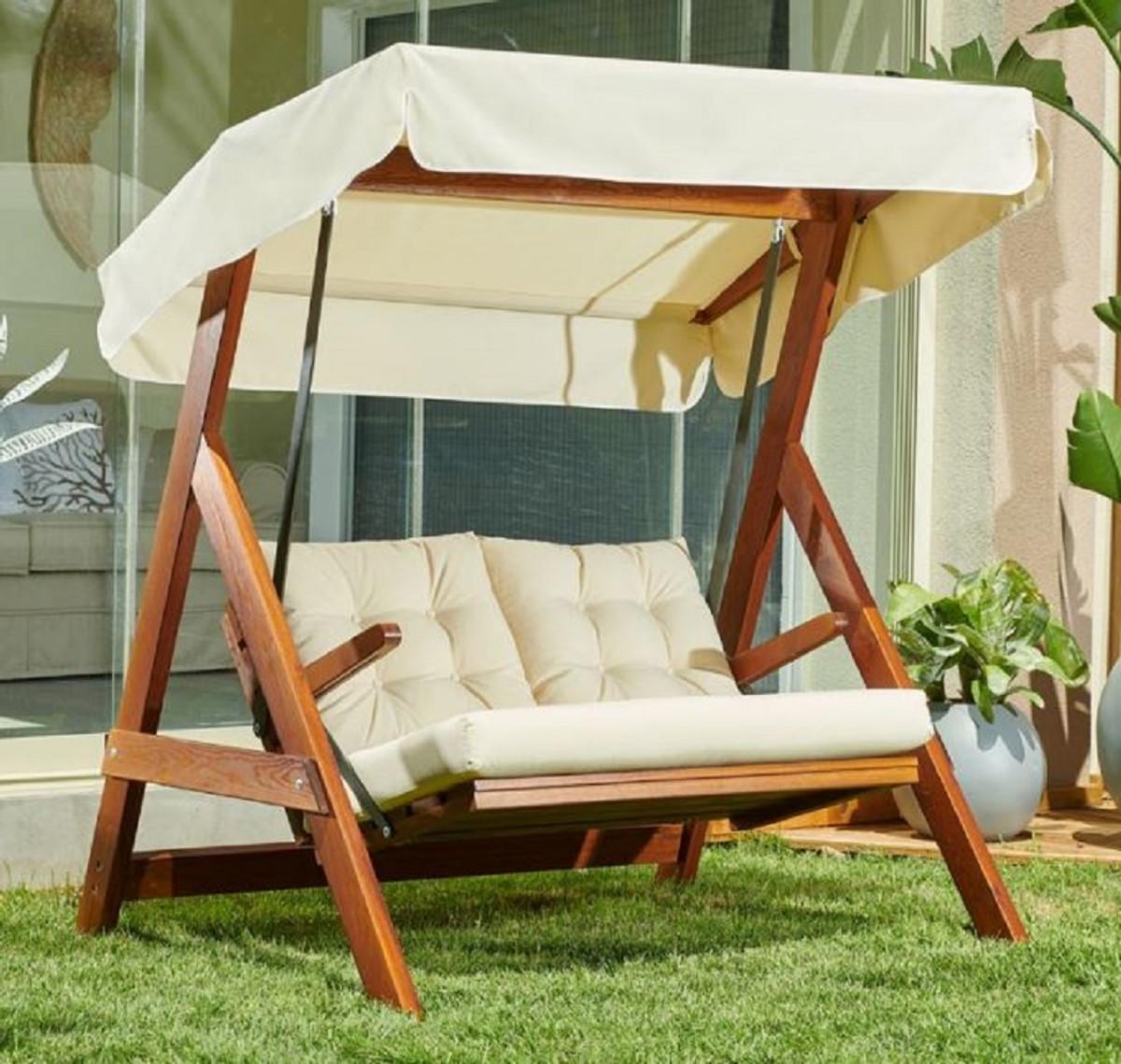 casa padrino luxury hollywood swing cream brown modern weatherproof garden swing with sun roof patio furniture garden furniture