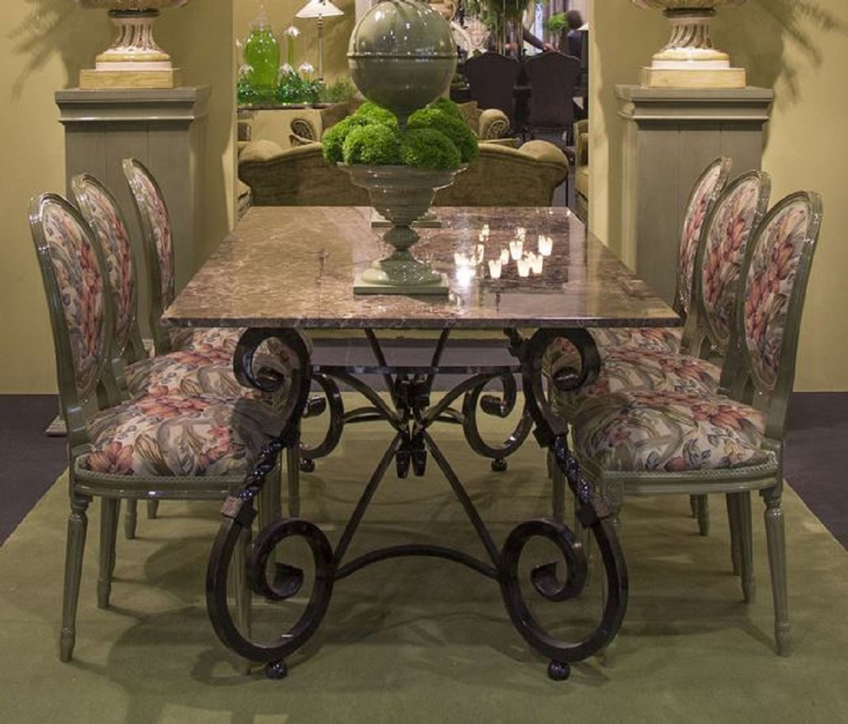 casa padrino luxury baroque dining table base black hand forged wrought iron frame dining room garden patio furniture