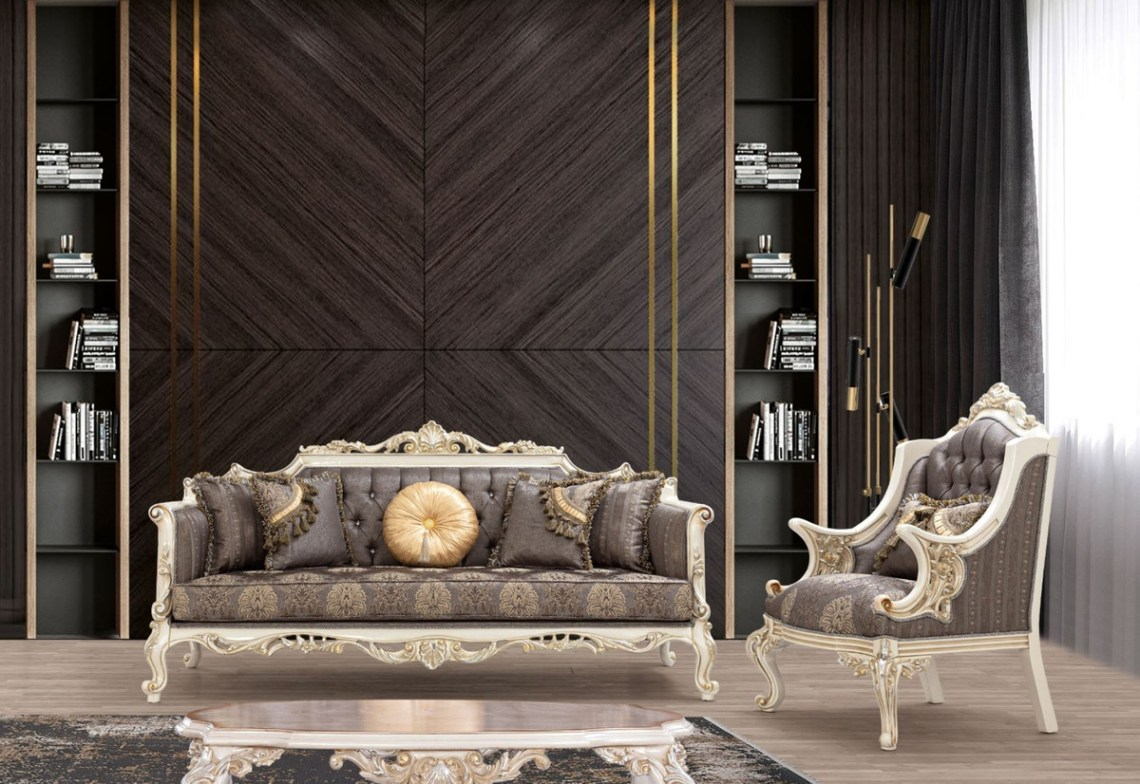 Casa Padrino Luxury Baroque Sofa Gray Brown White Gold Silver Handmade Living Room Sofa With Elegant Pattern And Rhinestones Baroque Living Room Furniture Noble Magnificent