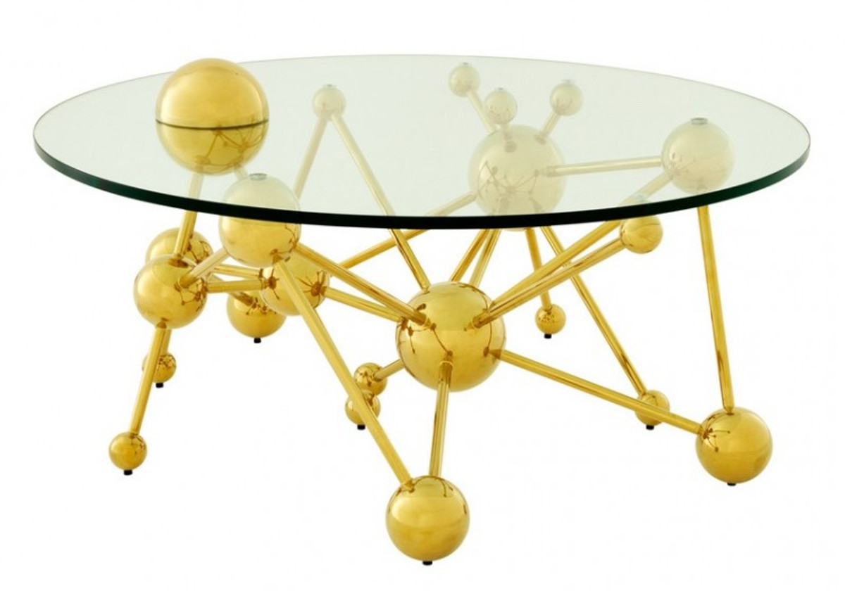 casa padrino luxury coffee table stainless steel glass gold astronomy art deco coffee table