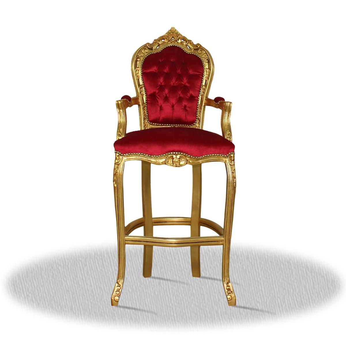 casa padrino chaise haute baroque tabouret de bar or rouge 55 x 50 x h 140 cm edition limitee